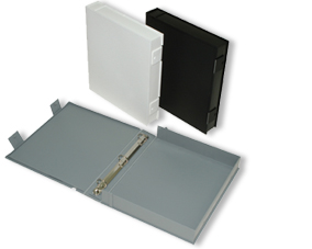 white, black, and gray archival binders produced by Beseler Photographic Equipment